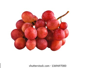 juicy fresh tassels of red grapes isolated on white background