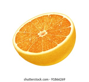 juicy fresh water drops cross section of orange with white background