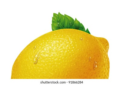 juicy fresh water drops of lemon with white background