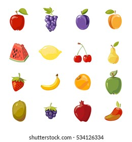 juicy fruits collection isolated over white. Collection of fresh food illustration.
