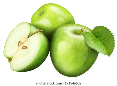 juicy green apple with leaf on white background