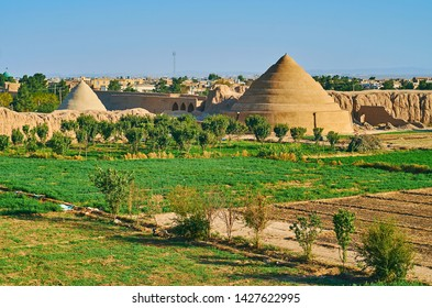 The juicy green kitchen garden in old Kashan is surrounded by mud wall of Ghaleh Jalali fortres; the spiral pyramids of yakhchal ice chambers are seen on background, Iran
