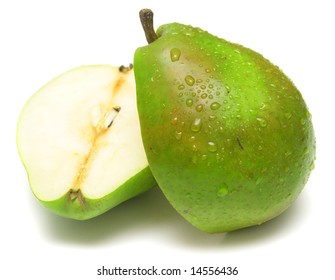 Juicy green pear on white. Isolation on white.