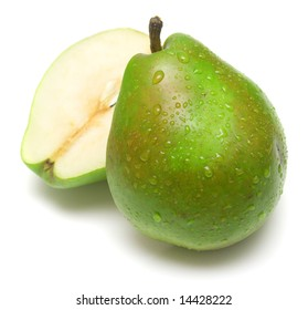 Juicy green pears on white. Isolation on white.