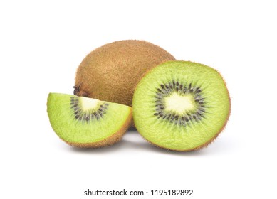 Juicy Kiwi fruit and cut in half isolated on white background