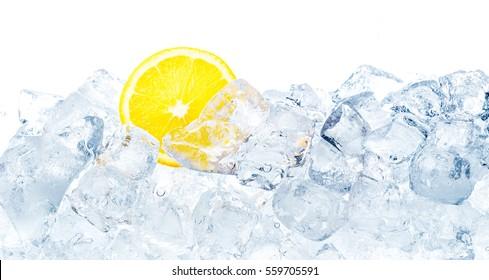 Juicy lemon in ice cubes background.