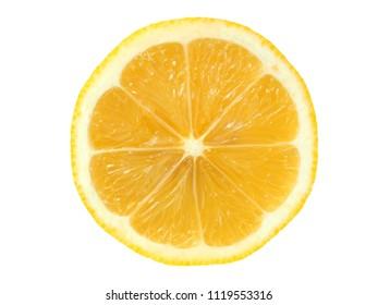 Juicy lemon slice isolated on white background