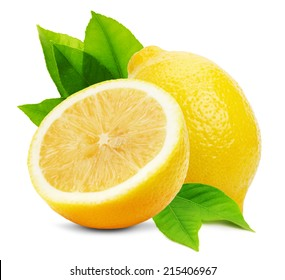 juicy lemons isolated on the white background