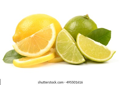 Juicy lime and lemon isolated on a white background