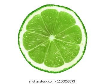 Juicy lime slice isolated on white background