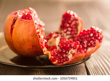 Juicy open pomegranate.