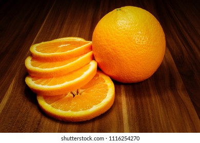 juicy orange and slices