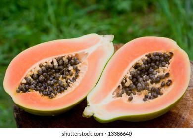 Juicy papaya with seeds