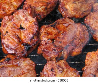 juicy pieces of grilled meat, detailed