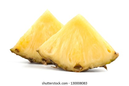 Juicy pineapple with slices isolated on white background