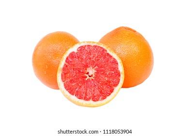 Juicy pink grapefruit on isolated background