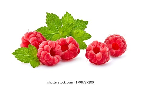 Juicy raspberry with leaves of mint. Raspberries  Isolated on White Background. Ripe berries isolated.