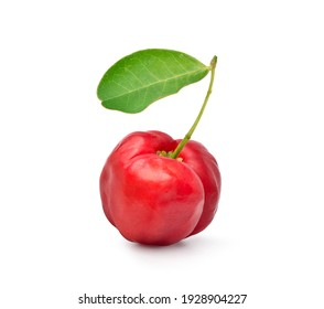 Juicy red Acerola cherry with green leaf isolated on white background. Clipping path.