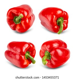 Juicy red pepper with a green tail on a white background