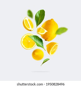 Juicy ripe flying yellow lemons, green leaves on light gray background. Creative food concept. Tropical organic fruit, citrus, vitamin C. Lemon slices. Summer minimalistic bright fruit background
