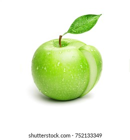 Juicy slice of Fresh Green Apple with leaves Isolated on White Background