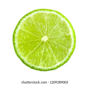 Juicy slice of lime isolated on white