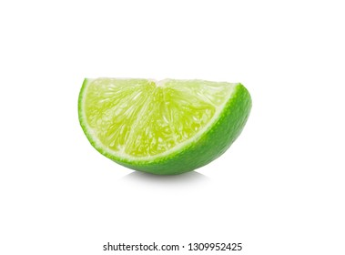 Juicy slice of lime isolated on white background.