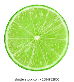 Juicy slice of lime isolated on white background. Close up.