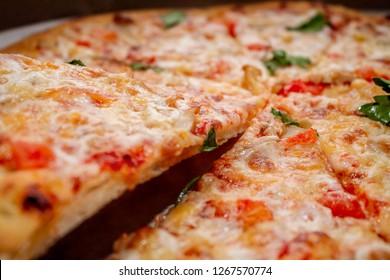 Juicy slice of pizza.