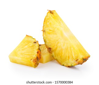 Juicy slices of pineapple isolated on a white background