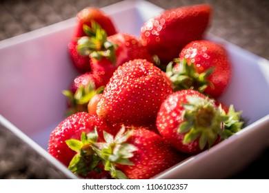 juicy strawberries in a bowl