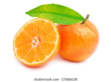 Juicy tangerines or mandarins isolated on white background