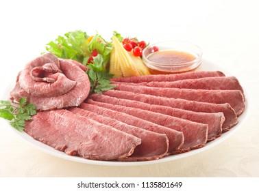 Juicy thin sliced roast beef