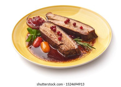 Juicy Venison meat in lingonberry marinade, scandinavian cuisine, isolated on white background.
