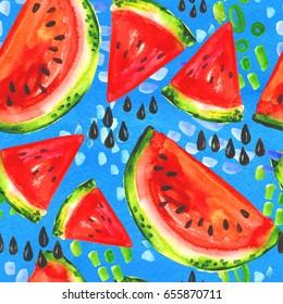 Juicy watercolor watermelon seamless pattern