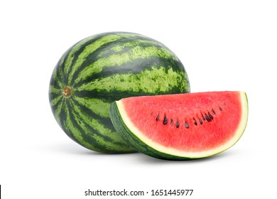 Juicy watermelon with sliced isolated on white background. Clipping path.