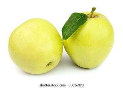 Juicy yellow apples on a white background