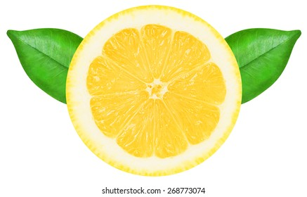 Juicy yellow lemon slice with leaves on a white background isolated