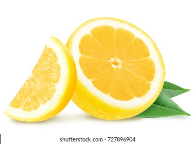 Juicy yellow lemon slices with leaves isolated on a white background.