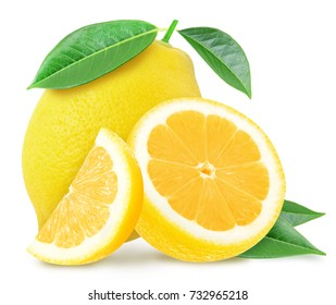 Juicy yellow lemon and slices with leaves isolated on a white background.