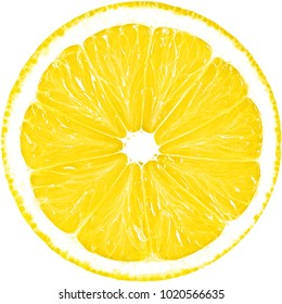 Juicy yellow slice of lemon isolated on a white background with clipping path. The perfect circle of sliced lemon. Citrus fruit.