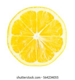 Juicy yellow slice of lemon isolated on white background