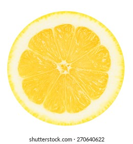 Juicy yellow slice of lemon on a white background isolated