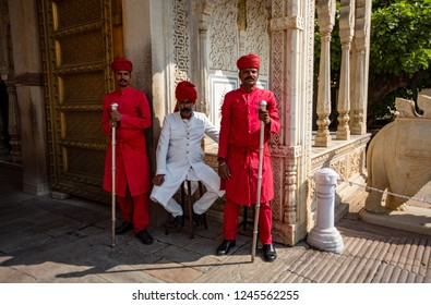 JUIPUR, INDIA -NOV 17, 2018The staff of City Palace.
