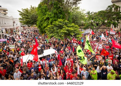 JUIZ DE FORA, BRAZIL - APRIL 28 - General strike in Brazil against reforms of the Social Security and labor laws of the government Michel Temer, April 28, 2017