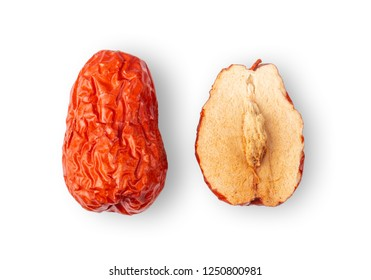 Jujube Chinese dried red date fruit on white background. top view