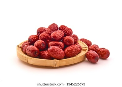 Jujube, Chinese dried red date fruit on white