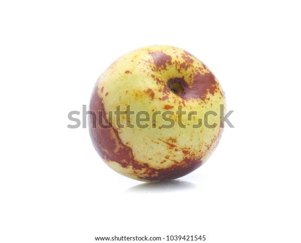 Jujube fruits close up on white