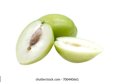 Jujube, Indian jujube monkey apple, green balls pile was similar to green apple on white background