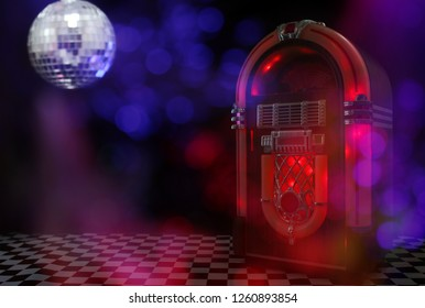 Jukebox in Bar with Disco Ball and Bokeh